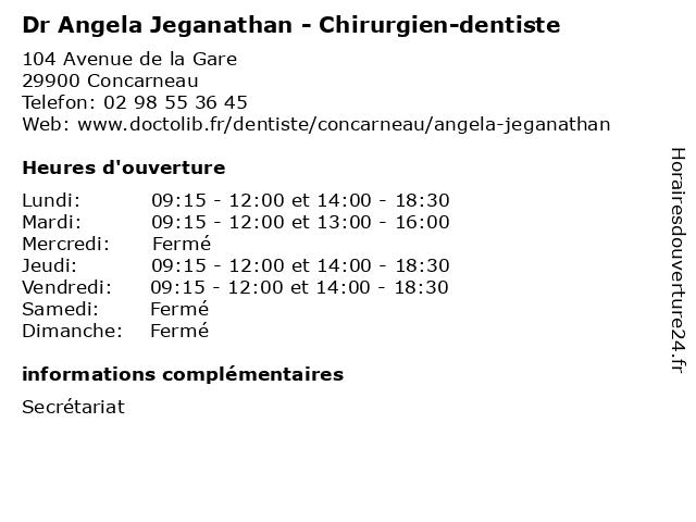 Dr Angela Jeganathan - Chirurgien-dentiste à Concarneau: adresse et heures d'ouverture