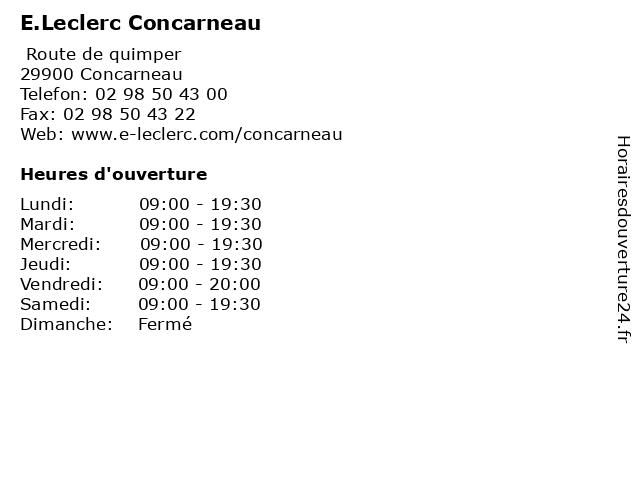 E.Leclerc Concarneau à Concarneau: adresse et heures d'ouverture