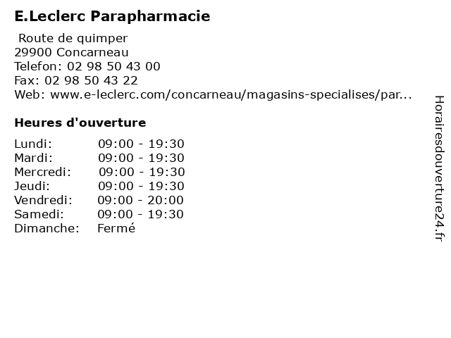 E.Leclerc Parapharmacie à Concarneau: adresse et heures d'ouverture