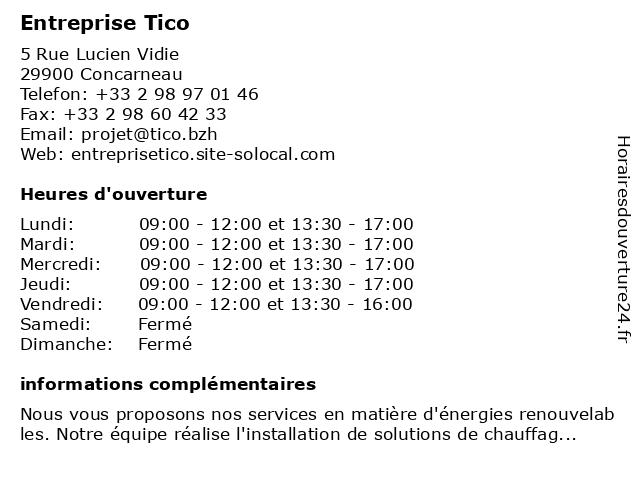 ENTREPRISE TICO à Concarneau: adresse et heures d'ouverture