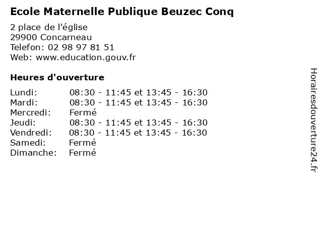Ecole Maternelle Publique Beuzec Conq à Concarneau: adresse et heures d'ouverture