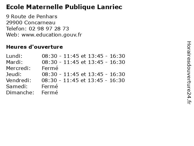 Ecole Maternelle Publique Lanriec à Concarneau: adresse et heures d'ouverture