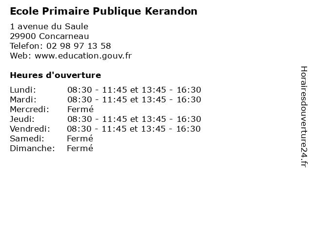 Ecole Primaire Publique Kerandon à Concarneau: adresse et heures d'ouverture