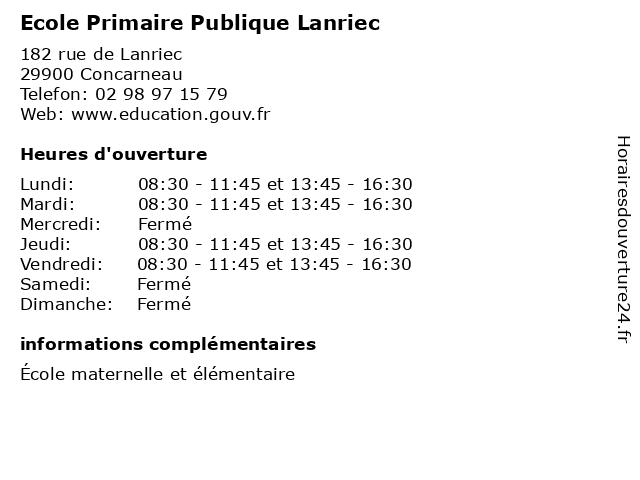 Ecole Primaire Publique Lanriec à Concarneau: adresse et heures d'ouverture