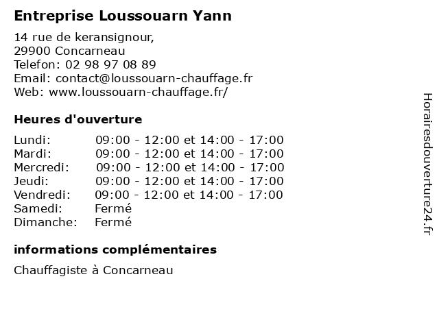 Entreprise Loussouarn Yann à Concarneau: adresse et heures d'ouverture