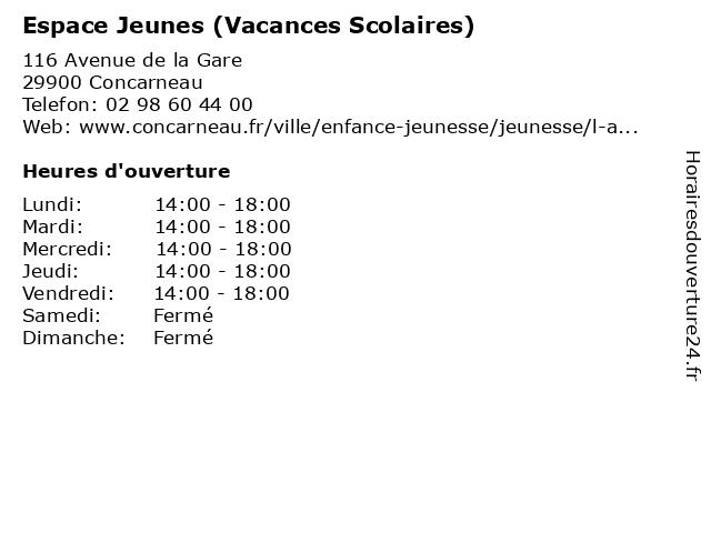 Espace Jeunes (Vacances Scolaires) à Concarneau: adresse et heures d'ouverture