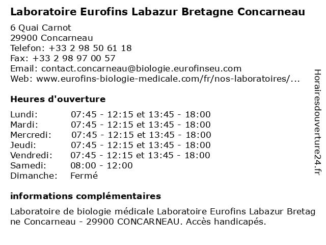 Eurofins Labazur Bretagne Concarneau à Concarneau: adresse et heures d'ouverture
