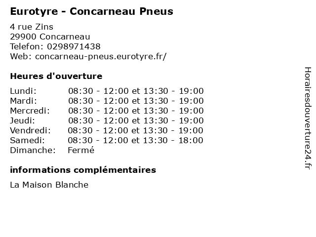 Eurotyre - Concarneau Pneus à Concarneau: adresse et heures d'ouverture