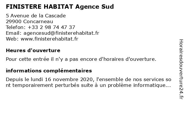 FINISTERE HABITAT Agence Sud à Concarneau: adresse et heures d'ouverture
