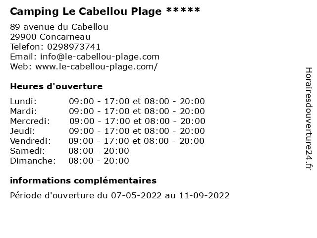 Flower Camping Le Cabellou Plage à Concarneau: adresse et heures d'ouverture