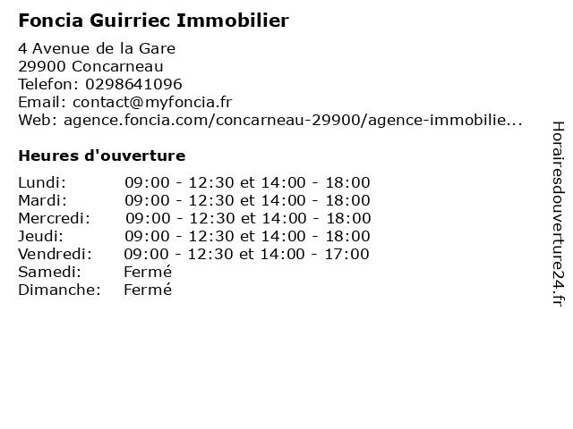 Foncia Guirriec Immobilier à Concarneau: adresse et heures d'ouverture