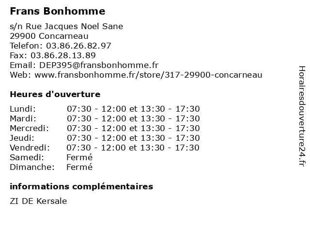 Frans Bonhomme à Concarneau: adresse et heures d'ouverture