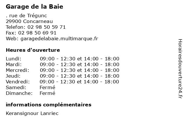 Garage de la Baie à Concarneau: adresse et heures d'ouverture