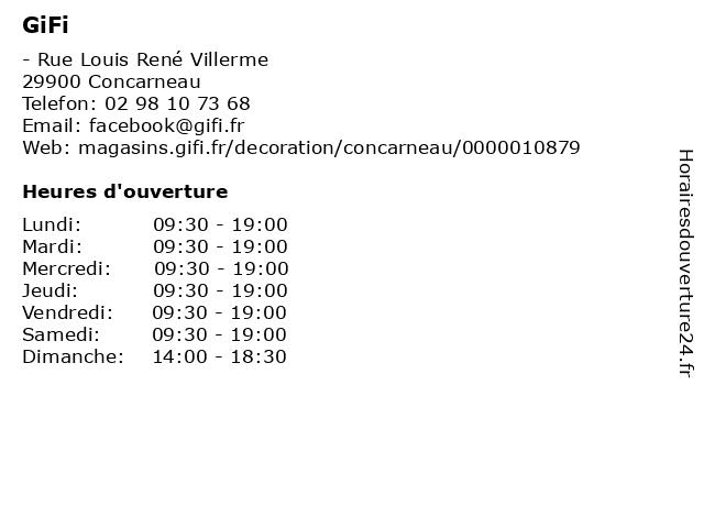 GiFi à Concarneau: adresse et heures d'ouverture