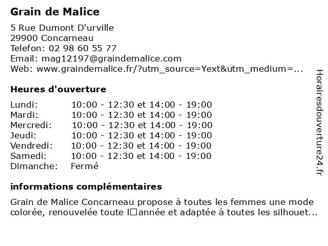 Grain de Malice à Concarneau: adresse et heures d'ouverture