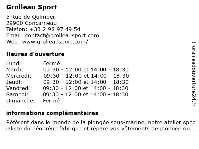 Grolleau Sport à Concarneau: adresse et heures d'ouverture