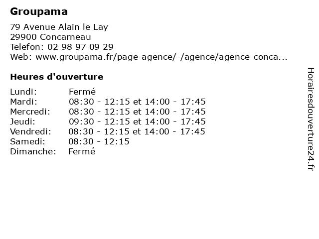 Groupama à Concarneau: adresse et heures d'ouverture