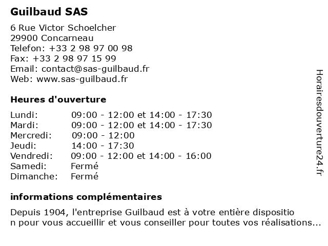 Guilbaud SAS à Concarneau: adresse et heures d'ouverture