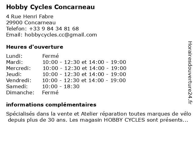 Hobby Cycles Concarneau à Concarneau: adresse et heures d'ouverture