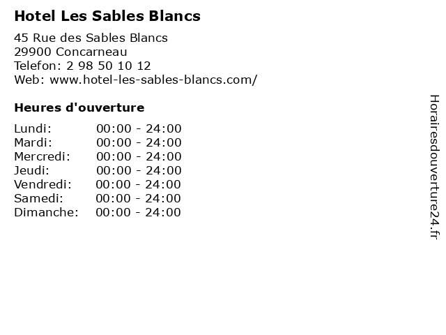 Hotel Les Sables Blancs à Concarneau: adresse et heures d'ouverture