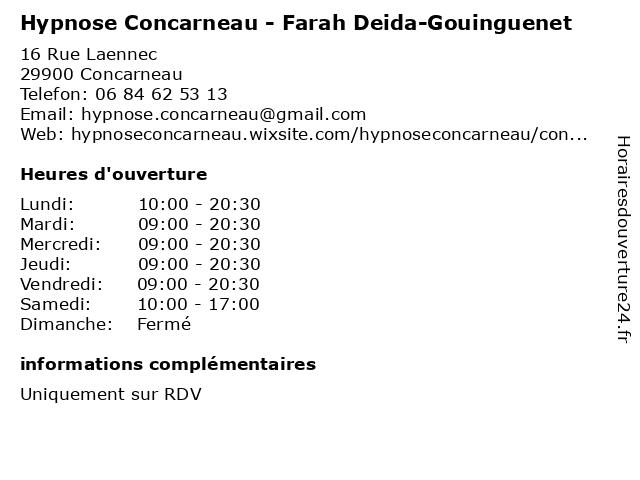 Hypnose Concarneau - Farah Deida-Gouinguenet à Concarneau: adresse et heures d'ouverture