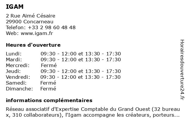IGAM à Concarneau: adresse et heures d'ouverture
