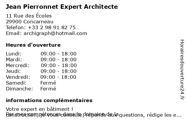 Jean Pierronnet Expert Architecte à Concarneau: adresse et heures d'ouverture