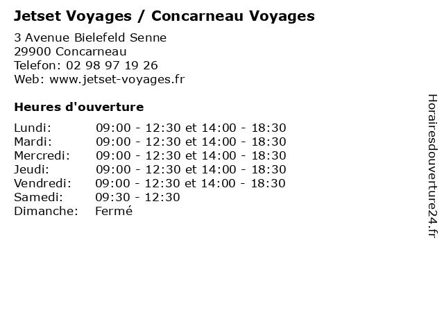 Jetset Voyages / Concarneau Voyages à Concarneau: adresse et heures d'ouverture