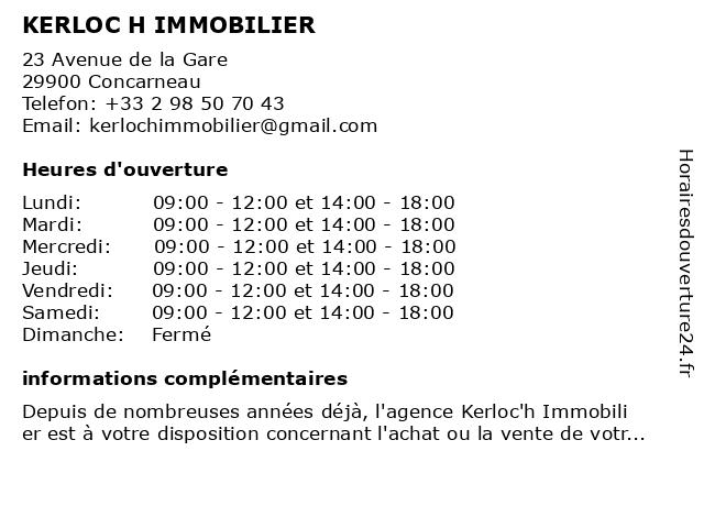 KERLOC H IMMOBILIER à Concarneau: adresse et heures d'ouverture