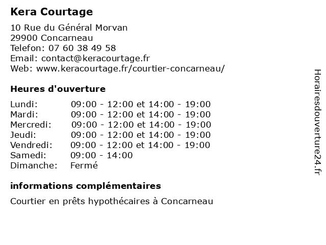 Kera Courtage à Concarneau: adresse et heures d'ouverture