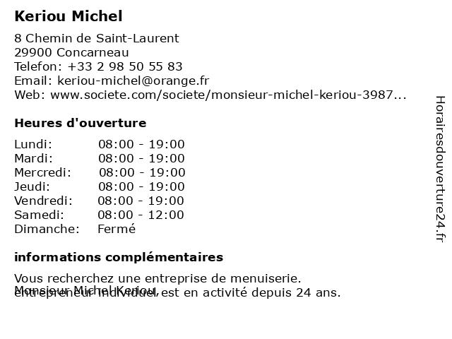 Keriou Michel à Concarneau: adresse et heures d'ouverture