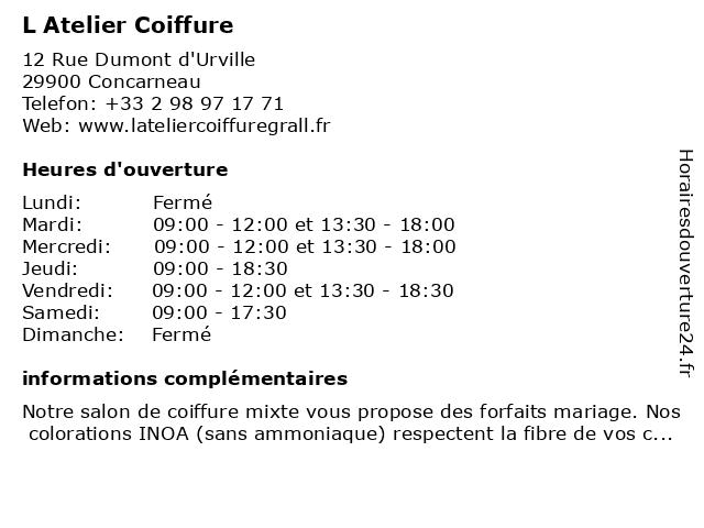 L Atelier Coiffure à Concarneau: adresse et heures d'ouverture