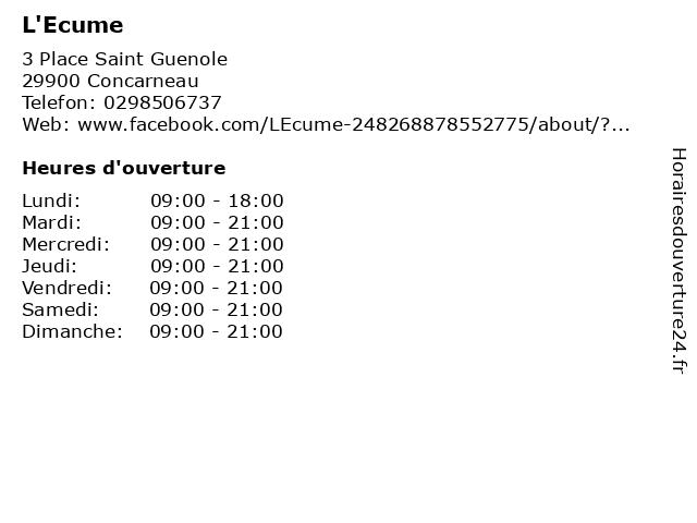 L'Ecume à Concarneau: adresse et heures d'ouverture