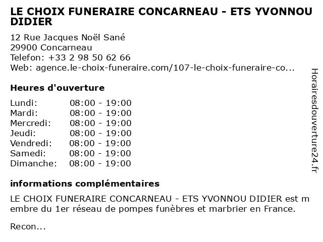 LE CHOIX FUNERAIRE CONCARNEAU - ETS YVONNOU DIDIER à Concarneau: adresse et heures d'ouverture