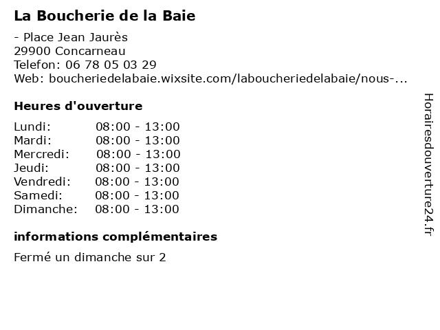 La Boucherie de la Baie à Concarneau: adresse et heures d'ouverture