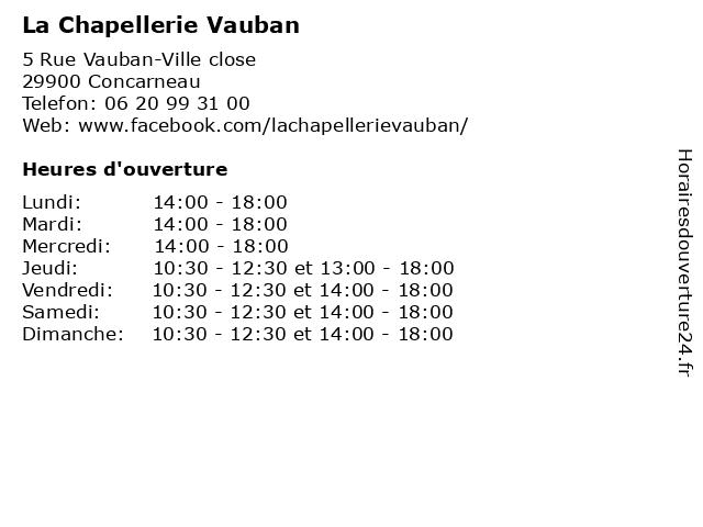 La Chapellerie Vauban à Concarneau: adresse et heures d'ouverture