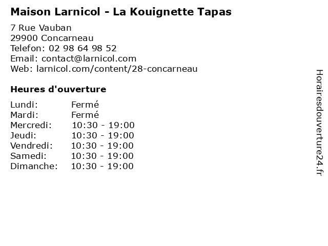 La Gourmandine à Concarneau: adresse et heures d'ouverture