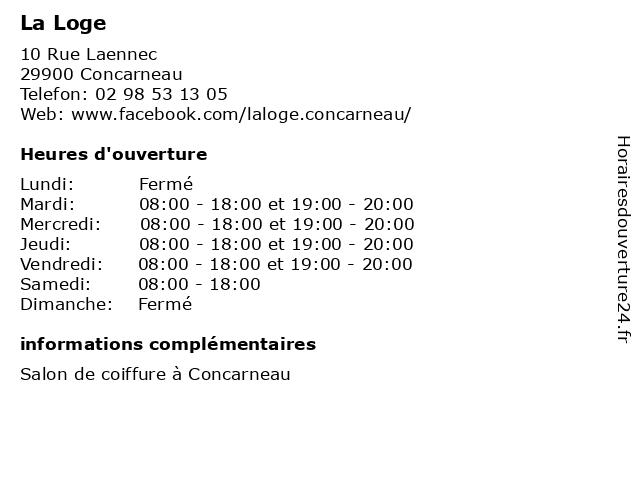 La Loge à Concarneau: adresse et heures d'ouverture