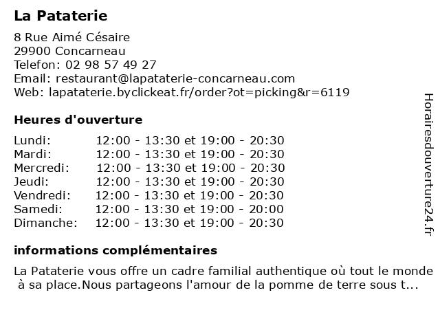 La Pataterie à Concarneau: adresse et heures d'ouverture