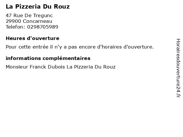 La Pizzeria Du Rouz à Concarneau: adresse et heures d'ouverture