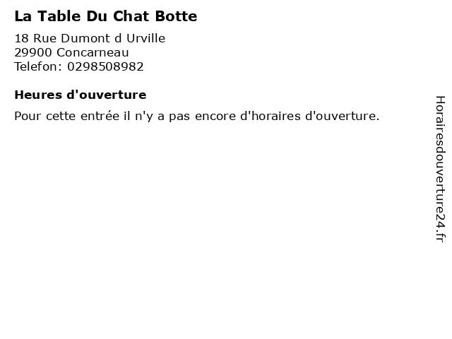 La Table Du Chat Botte à Concarneau: adresse et heures d'ouverture