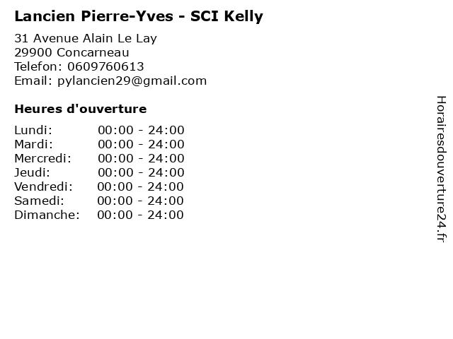 Lancien Pierre-Yves - SCI Kelly à Concarneau: adresse et heures d'ouverture