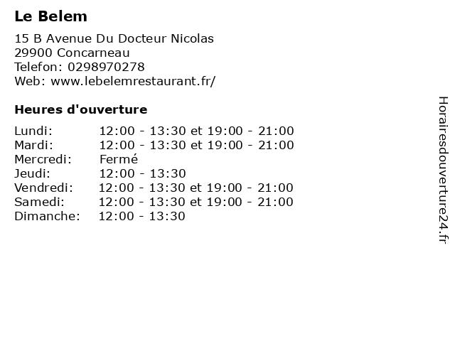 Le Belem à Concarneau: adresse et heures d'ouverture