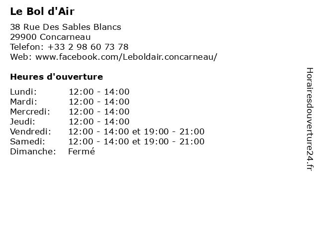 Le Bol d'Air à Concarneau: adresse et heures d'ouverture