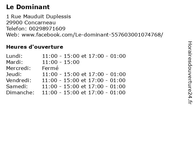 Le Dominant à Concarneau: adresse et heures d'ouverture