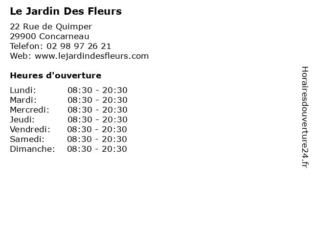 Le Jardin Des Fleurs à Concarneau: adresse et heures d'ouverture