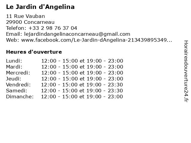 Le Jardin d'Angelina à Concarneau: adresse et heures d'ouverture