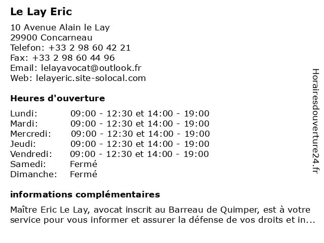 Le Lay Eric à Concarneau: adresse et heures d'ouverture