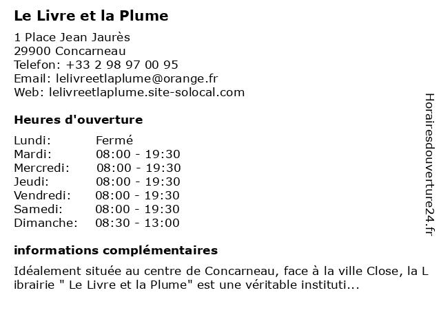 Le Livre et la Plume à Concarneau: adresse et heures d'ouverture