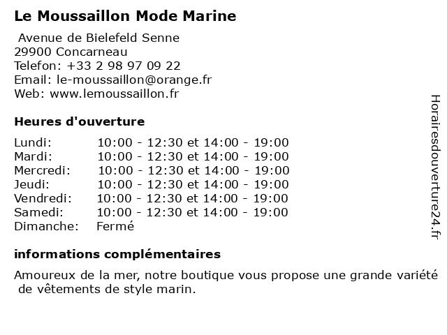 Le Moussaillon Mode Marine à Concarneau: adresse et heures d'ouverture